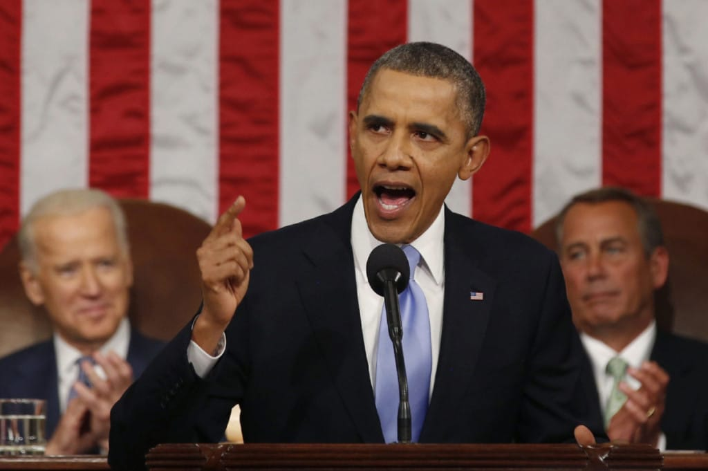 Larry Downing / AP U.S. President Barack Obama delivers the State of Union address before a joint session of Congress.